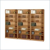 Safco WorkSpace Seven Shelf Radius Edge Wall Bookcase in Medium Oak