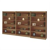 Safco WorkSpace Five Shelf Square-Edge Wall Bookcase in Medium Oak