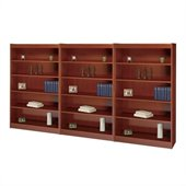 Safco WorkSpace 60H Five Shelf Square-Edge Wall Bookcase in Cherry