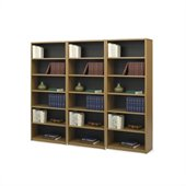 Safco 6-Shelf ValueMate Economy Steel Wall Bookcase in Medium Oak