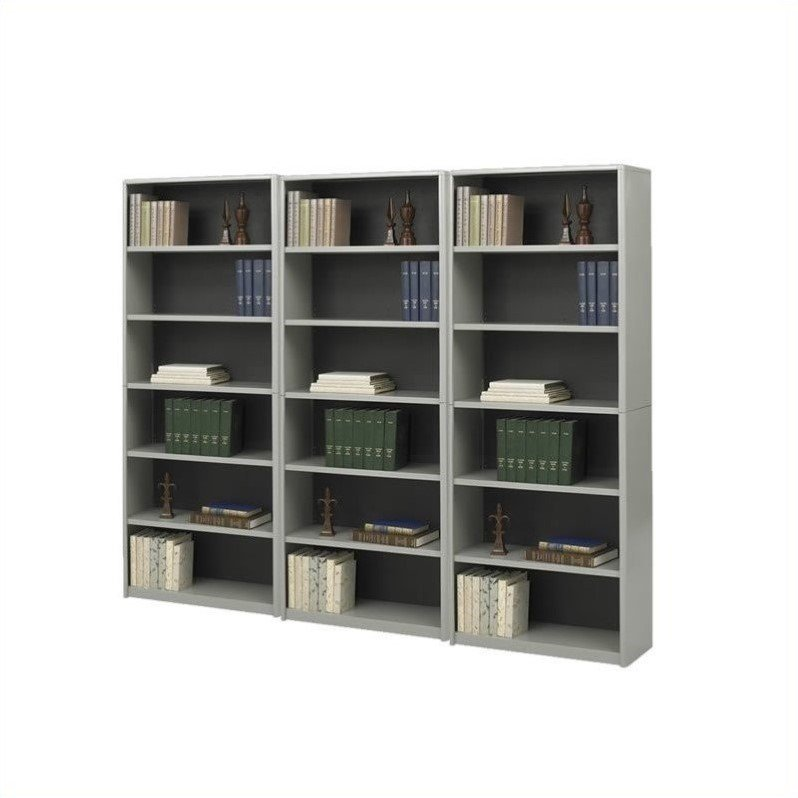 ValueMate Standard 6 Shelf Economy Steel Wall Bookcase in Gray