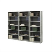 Safco ValueMate Standard 6 Shelf Economy Steel Wall Bookcase in Gray