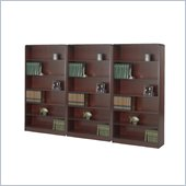 Safco WorkSpace Six Shelf Radius Edge Wall Bookcase in Mahogany