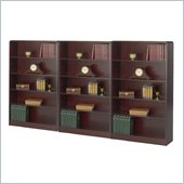 Safco WorkSpace Five Shelf Radius Edge Wall Bookcase in Mahogany