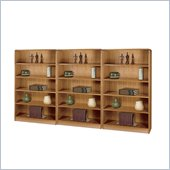 Safco WorkSpace Five Shelf Radius Edge Wall Bookcase in Medium Oak