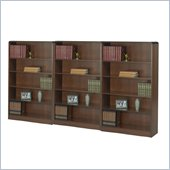 Safco WorkSpace Five Shelf Radius Edge Wall Bookcase in Walnut