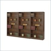 Safco WorkSpace Six Shelf Radius Edge Wall Bookcase in Walnut