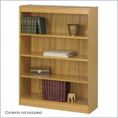 Safco 4-Shelf Square-Edge Veneer Bookcase in Light Oak Finish
