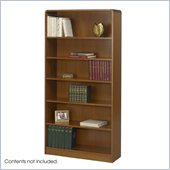 Safco 6-Shelf Radius-Edge Veneer Bookcase in Medium Oak