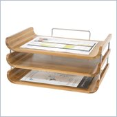 Safco Bamboo Triple Tray in Natural