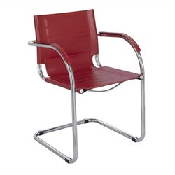 Safco Flaunt Guest Chair Red Leather in Red