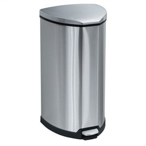 Safco Stainless Step-On 10 Gallon Receptacle in Stainless Steel