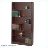 Safco WorkSpace Six Shelf Radius Edge Bookcase in Mahogany