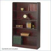 Safco WorkSpace Five Shelf Radius Edge Bookcase in Mahogany
