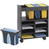 Safco 8 Compartment Go Cart Mobile Wood Letter File Cart in Black