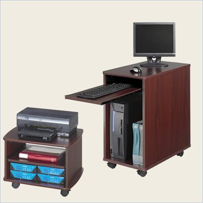 Safco Desk-Side Mini Wood Workstation with Duo Printer Cart in Mahogany
