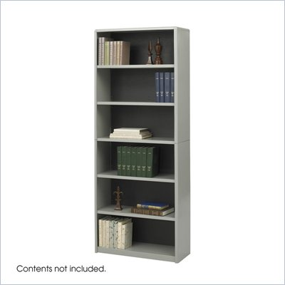 Safco ValueMate Standard 6 Shelf Economy Steel Bookcase in Gray 