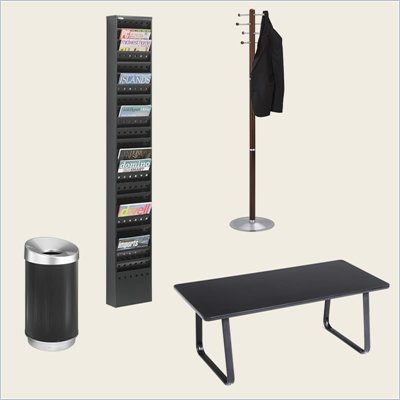 Safco Reception Room Table Set with Magazine Rack, Waste Basket and Coat Rack