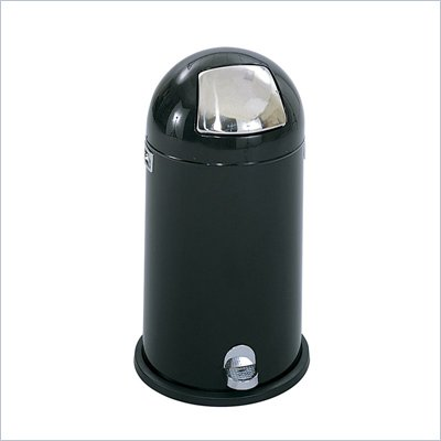 Safco Black 12 Gallon Step-On Dome Receptacle