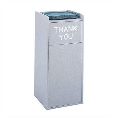 Safco Gray Wood Food Court Receptacle
