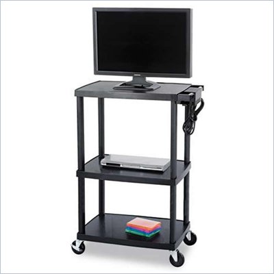 Safco Plastic AV Adjustable TV Cart in Black 