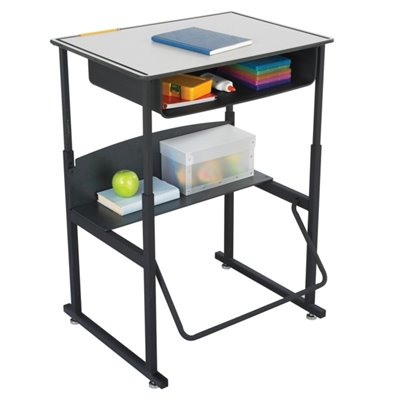 "Safco AlphaBetter 20"" x 28"" Student Desk in Gray With Book Box"