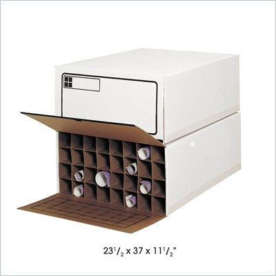 Safco 32 Compartment Medium Tube-Stor KD Roll Files in White (Set of 2)