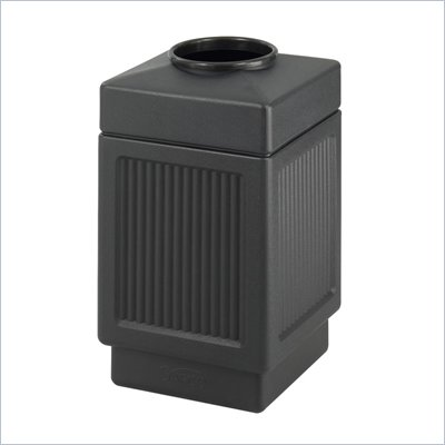 Safco Black Canmeleon Recessed Panel 38 Gallon Indoor/Outdoor Receptacle