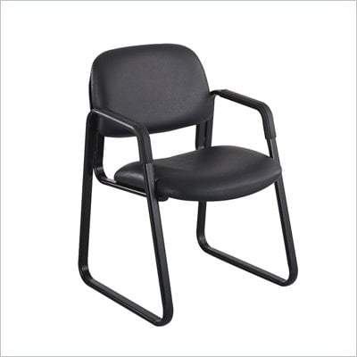 Safco Cava Sled Base Guest Chair in Black Vinyl
