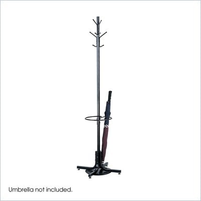 Safco Black Standing Coat Rack with Umbrella Stand