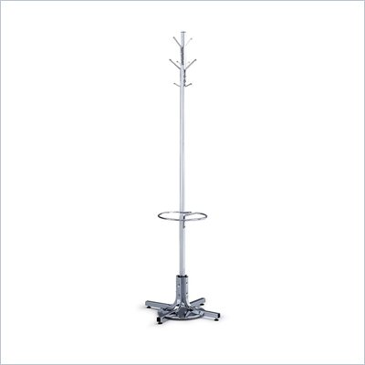 Safco Chrome Standing Coat Rack with Umbrella Stand