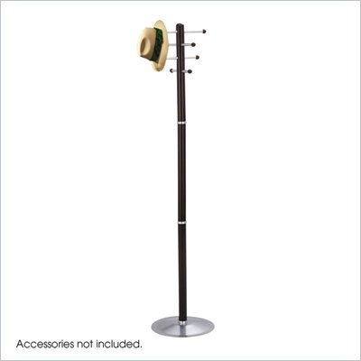 Safco Mahogany Wood Standing Coat Rack