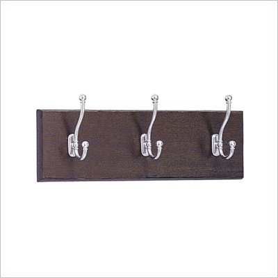 Safco 3 Hook Wood Wall Coat Rack in Mahogany (Set of 6)