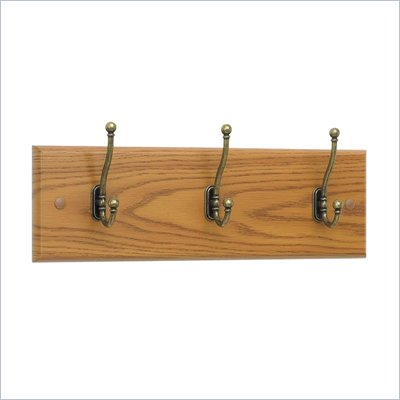 Safco 3 Hook Wood Wall Coat Rack in Medium Oak (Set of 6)