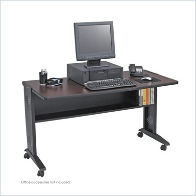 Safco 54&quot; Reversible Top Mobile Metal Computer Desk in Mahogany and Oak