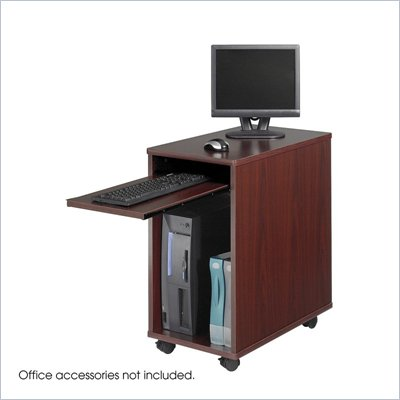Safco Desk-Side Mini Wood Workstation in Mahogany