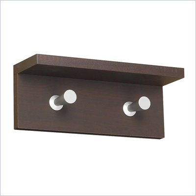 Safco Contempo Wood 2 Hook Wall Coat Rack in Mahogany
