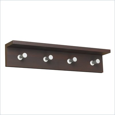Safco Contempo Wood 4 Hook Wall Coat Rack in Mahogany