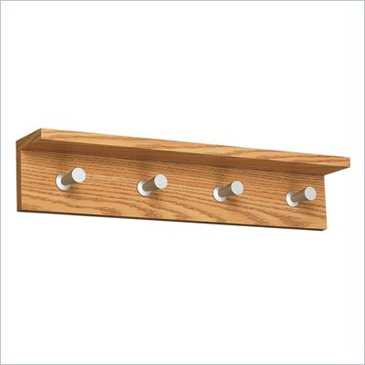 Safco Contempo Wood 4 Hook Wall Coat Rack in Medium Oak