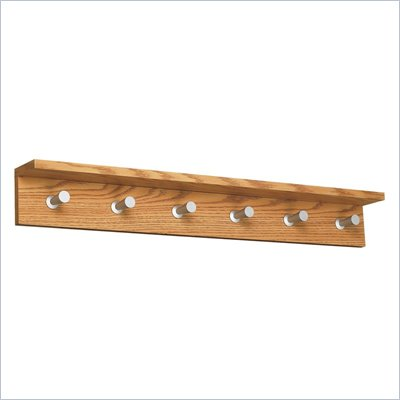 Safco Contempo Wood 6 Hook Wall Coat Rack in Medium Oak