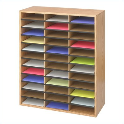 Safco Medium Oak Wood/Corrugated 36 Compartment Literature Organizer