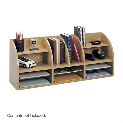 Safco Medium Oak 38&quot;W Radius Front Desk Top Organizer