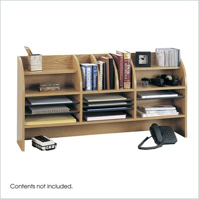 Safco Medium Oak 47&quot;W Radius Front Desk Topper