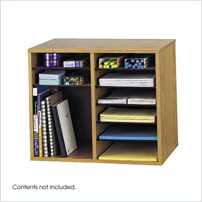 Safco Medium Oak 12 Compartment Oak Wood Adjustable File Organizer