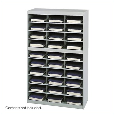 Safco E-Z Stor Grey Steel Mail Organizer, 30 Compartments
