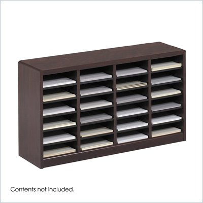 Safco E-Z Stor Mahogany Wood Mail Organizer, 24 Compartments