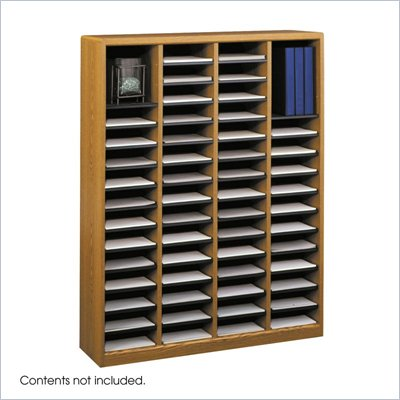 Safco E-Z Stor Medium Oak Wood Mail Organizer, 60 Compartments