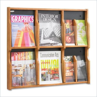 Safco Expose 6 Magazine 12 Pamphlet in Medium Oak Finish