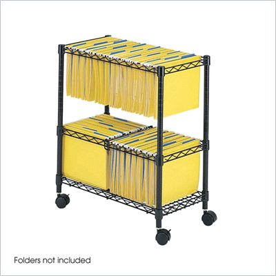 Safco Two-Tier Mobile Metal File Cart in Black