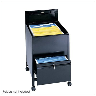 Safco Locking Mobile Legal Size Tub File with Drawer in Black